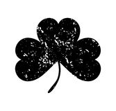 Clover leaf isolated black on white background. Silhouettes of three leaf clover in flat style with abrasion, spots and scratches. Royalty Free Stock Images