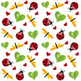Clover leaf with ladybird seamless pattern Stock Photography