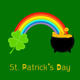 Clover leaf,  pot gold and rainbow. St Patricks da Royalty Free Stock Images