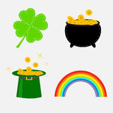 Clover leaf, pot with money, green hat and rainbow. St. Patrick Royalty Free Stock Photo