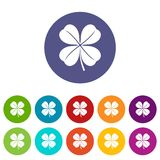 Clover leaf set icons Royalty Free Stock Photos