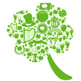 Clover leaf with st patrick icons Stock Image