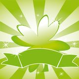 Clover leaf on striped background and ribbon Royalty Free Stock Image