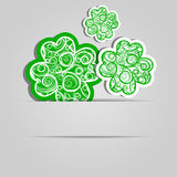 Clover leaves with an abstract pattern. Festive card. Day of Patrick. Royalty Free Stock Photo