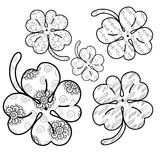 Clover leaves adult coloring page. 5 seamless patterns included. Vector illustration. stock illustration