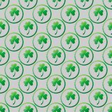 Clover leaves in circle frame. St. Patrick s Day seamless pattern vector illustration