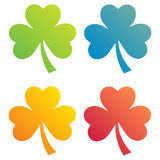 Clover leaves colorful vector set isolated on white background. Ecology concept. Flat design style.. St. Patricks Day vector. Stock Photo