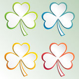Clover leaves colorful vector set isolated on white background. Ecology concept. Flat design style.. St. Patricks Day vector. Royalty Free Stock Photo