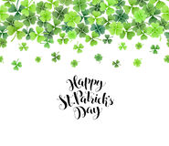 Clover leaves frame. St. Patricks day border from clover leaves. Greeting card with calligraphic text royalty free illustration