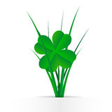 Clover leaves in the grass. Grass and clover leaves. A simpleGrass and clover leaves - a simple 3d flat design for St. Patrick s Day.flat design for St. Patrick Stock Photography