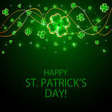 Clover leaves on Patricks Day background Stock Images
