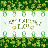 Clover leaves pattern. Greeting card for St. Patricks Day Royalty Free Stock Image
