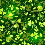 Clover leaves seamless pattern. St. Patrick`s Day green background. Shamrock wallpaper stock illustration