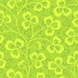 Clover leaves seamless vector pattern. St. Patrick`s Day green background. Shamrock wallpaper vector illustration