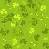Clover leaves seamless vector pattern. St. Patrick`s Day green background. Shamrock wallpaper stock illustration