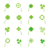 Clover leaves vector set or collection on white background Stock Photos