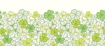 Clover line art horizontal seamless pattern Royalty Free Stock Photo