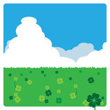 Clover meadow in the sunny day. 4 leaves clovers meadow landscape in sunny day Stock Image