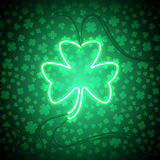 Clover neon lamp. Green neon sign, Shamrock Clover on dark background. Design element for St Patrick`s Day. Ready for your design, greeting card, banner. Vector vector illustration