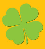 Clover on orange background. Royalty Free Stock Photos