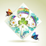 Clover over decorative shapes Royalty Free Stock Images