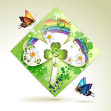 Clover over decorative shapes Royalty Free Stock Photo