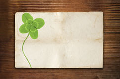 Clover paper and wood Stock Photo