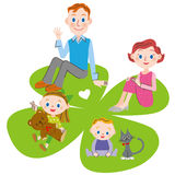 Clover and parent and child of four leaves Stock Photography