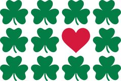 Clover pattern with one red heart - St. Patrick`s Day love. Vector vector illustration