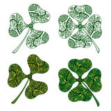 Clover Plants with Floral Pattern Royalty Free Stock Photos
