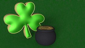 A clover with a pot of gold. Symbols for Saint Patricks day stock illustration