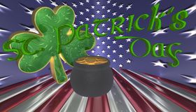 A clover with a pot of gold. Symbols for Saint Patricks day isolated against a flag of America vector illustration