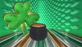 A clover with a pot of gold. Symbols for Saint Patricks day isolated against a flag of Ireland royalty free stock photo