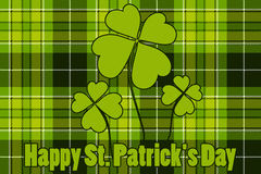 Clover on seamless check plaid background Happy St Patricks Day Royalty Free Stock Image