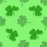 Clover seamless pattern. Clover pattern with three and four leaf. In green colours. St. Patrick`s Day hand-drawn doodle style clover endless repeat backdrop Stock Image