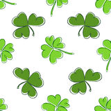 Clover seamless pattern. Clover pattern with three and four leaf. St. Patrick`s Day hand-drawn chaotic clover endless repeat backdrop, texture, wallpaper. Luck Royalty Free Stock Photo