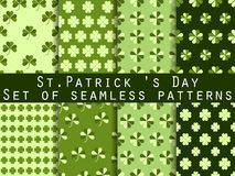 Clover. Set of seamless pattern with clover. St.Patrick's Day. Green color. Vector illustration. Stock Photo
