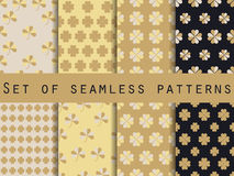 Clover. Set of seamless pattern with clover.  Stock Image
