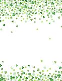 Clover shamrock leaves isolated on white background. Abstract St. Patrick`s day border background with place for your text. Vector flat illustration for your Royalty Free Stock Photo