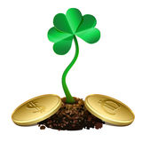 Clover sprout growing out of soil and gold coins. Stock Photography