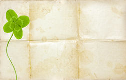 Clover symbol on old background and empty paper Stock Photos