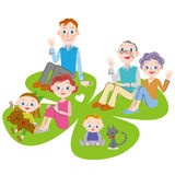 Clover and three-generation family of four leaves. The close three-generation family who sits down to the clover of four leaves Stock Illustration