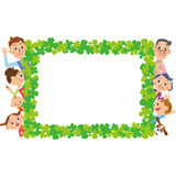 Clover three-generation family. The frame of the clover and close three-generation family vector illustration