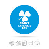 Clover with three leaves sign. St. Patrick symbol. Clover with three leaves sign icon. Saint Patrick trefoil shamrock symbol. Copy files, chat speech bubble and Royalty Free Stock Image