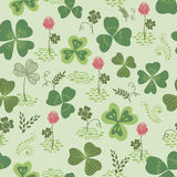 Clover and trefoil flowers seamless vector pattern Royalty Free Stock Photos