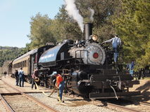 Clover Valley Lumber Train #4. The Pacific Locomotive Associations 4th annual post-Winterail Photographers Special on the Niles Canyon Railway, Sunday, March 10 royalty free stock photo