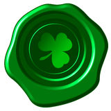 Clover wax seal. Clover leaf on a green wax seal Royalty Free Stock Photos