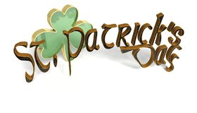 A clover with the words Saint Patricks day Stock Image