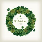 Clover wreath for celebrating St. patrick`s day Stock Photography