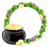 Clover wreath and pot with gold. Clover wreath and magic pot with gold coins. St. Patricks Day background Vector Illustration